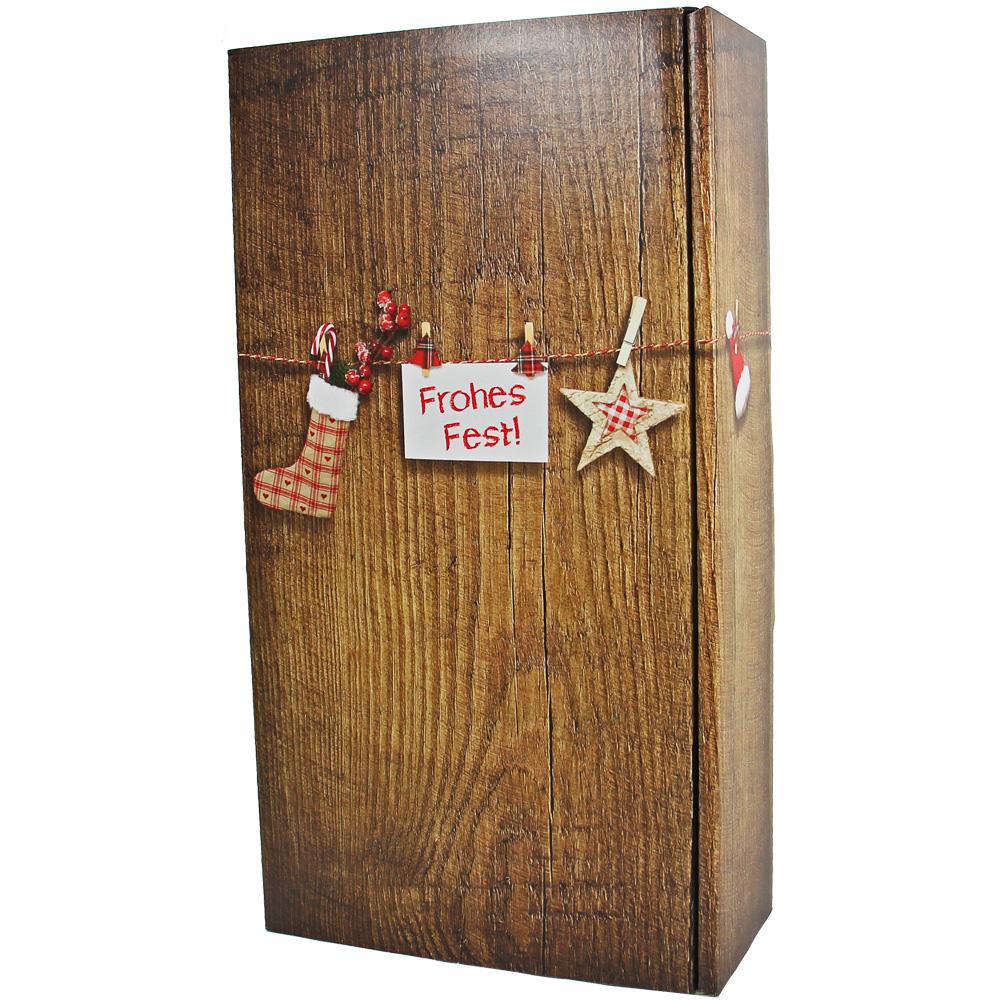 Geschenkkarton Weihnachten.2er Geschenkkarton Zu Weihnachten Im Holzdesign